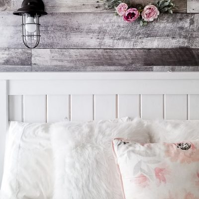 DIY Faux Wood Bedroom Feature Wall