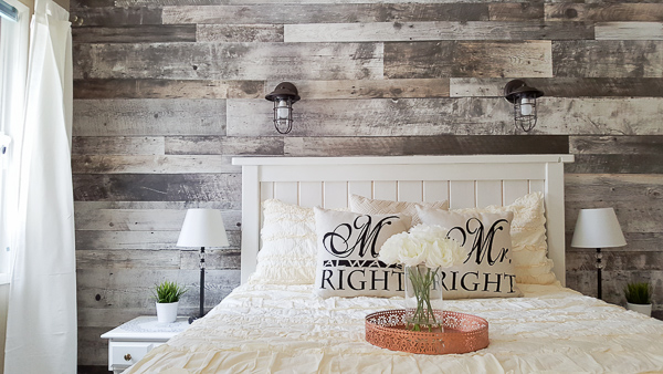 Diy Faux Wood Bedroom Feature Wall Our Happily Ever Home