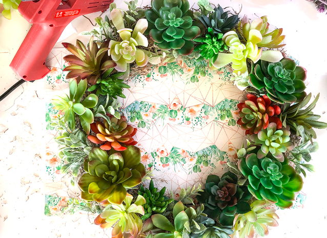 dollar store succulent wreath