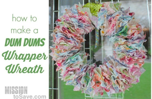 dum dum wrapper wreath tutorial