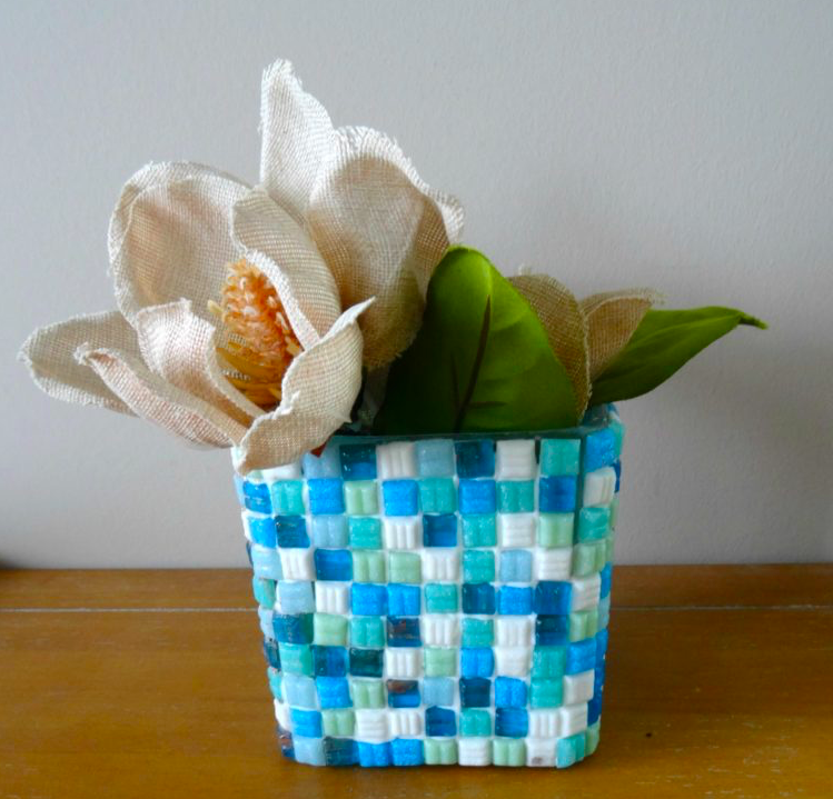 mosaic vase with dollar store supplies