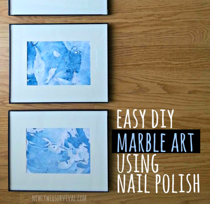 marble art with nail polish