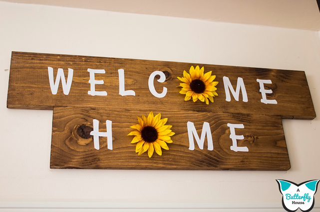 make your own sunflower Welcome Home sign