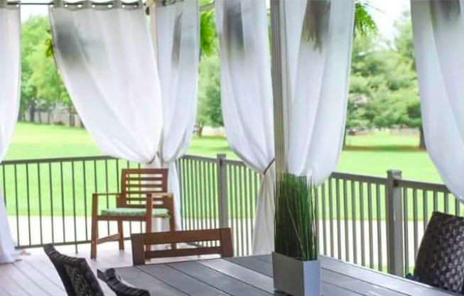 Backyard Patio Ideas | Tie-Back Curtains for under $5