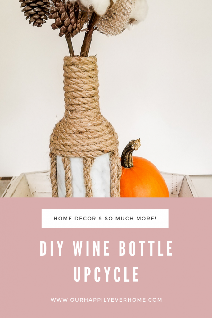 Check out this simple DIY Wine Bottle Upcycle! #winebottleupcycle #marblecontactpaper